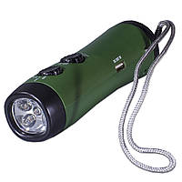 Фонарь с динамо Lesko RD300 зеленый FM радио USB