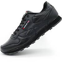 Женские кроссовки Reebok classic leather black (Рибок класик черные, кожа) р.(38)