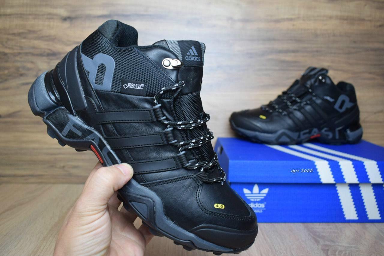 941996ec Зимние мужские кроссовки в стиле Adidas Fastr высокие кожа мех черные