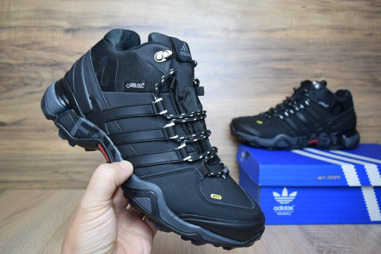 d4ec83cf Зимние мужские кроссовки в стиле Adidas Fastr высокие нуубк мех черные -  Интернет-магазин