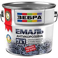 Эмаль Зебра 3 в 1 антикоррозионная 87 красно-коричневая 0.75 л N50115038