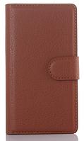 Кожаный чехол-книжка для Sony Xperia Z L36h C6602 C6603 коричневый