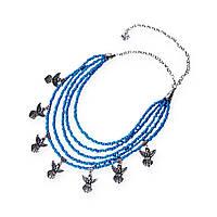 Колье Згарды Ангел (серебро, синий бисер)