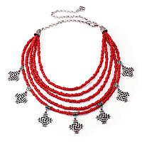 Колье Згарды Солярис (серебро, красный бисер, 5 рядов)