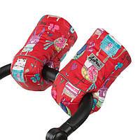 Муфта на коляску с двойным синтепоном и овчиной (рисунок на красном) ДоРечі