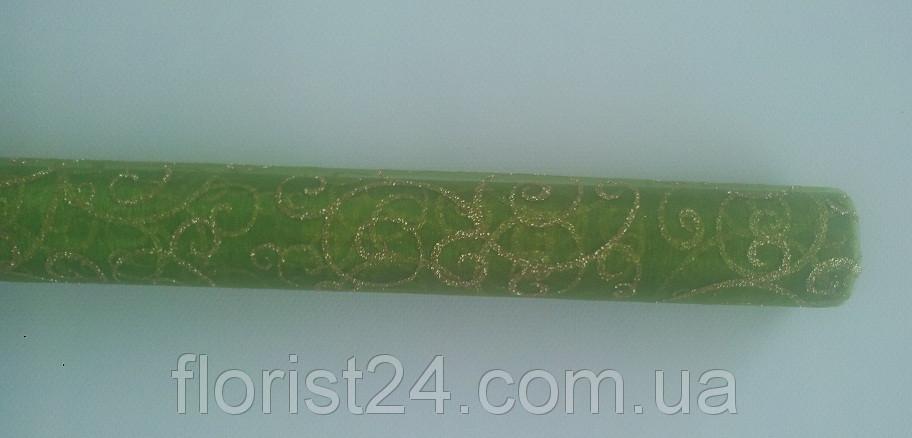 Органза с глиттером зеленая