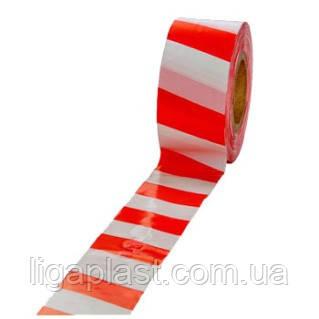Лента сигнальная красно-белая 80мм 500м/п