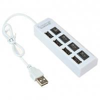 Разветвитель USB 2.0 хаб 4 порта с кнопками on off Код:122376