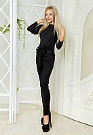 Женский костюм Стильный брючный замшевый чёрный+