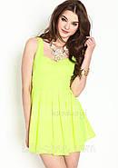 Платье с вырезом сердечком на спине, салатовое, фото 5