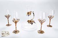 Набор винный Виноград декантер графин и 4 бокала Код:113403