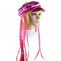 Кепка женская с косичками (розовая) Код:116270