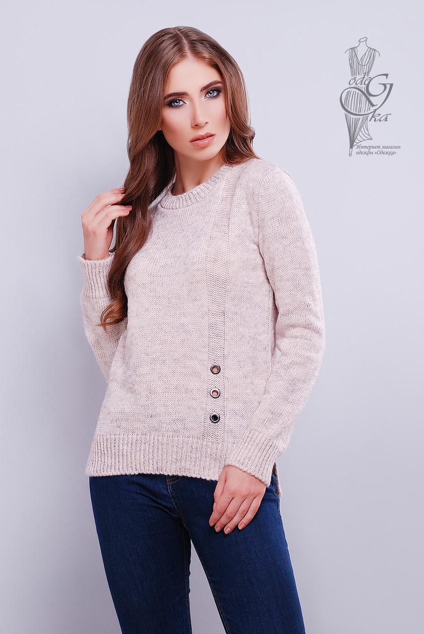 Стильные женские свитера Альбина-5 из шерстяной меланжевой нити