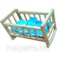 Кроватка кукольная, деревянная, + постель, в пак. 45*25см, произ-во Украина(ВП-002/1)
