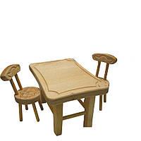 Мебель для кукол из масива бука(стол+стул(2шт)), стол 26*18*14см, произ-во Украина(172070)