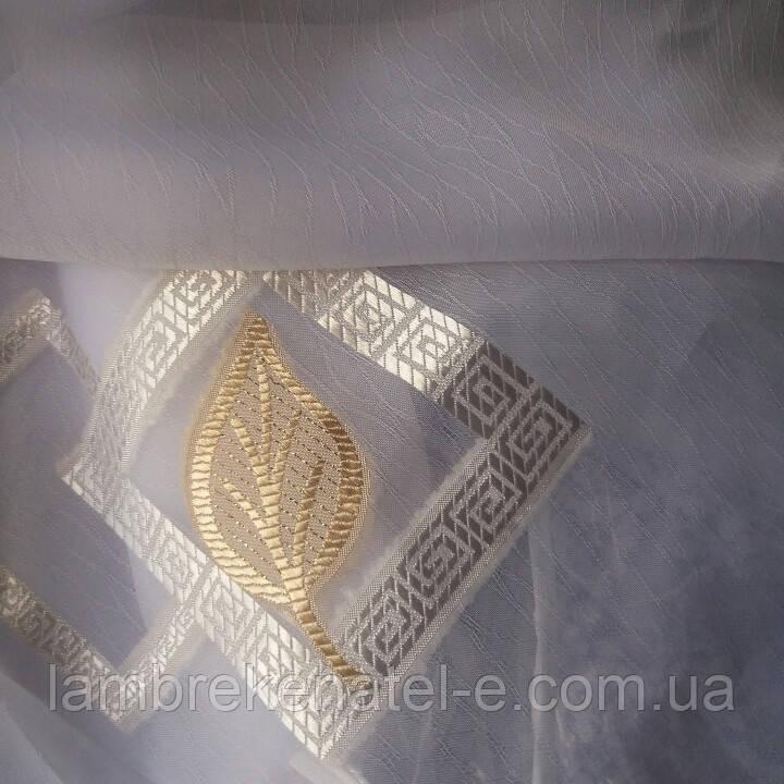 Тюль шифон белый золотой листочек