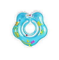 Круг для купания младенцев, с паровозиками BABY, цвет голубой, крепление: липучка+карабин, Kinderenok(204238-025)