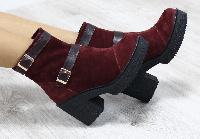 Ботинки женские зимние замшевые бордовые