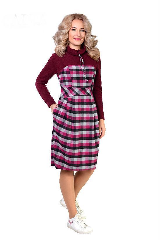 9cf151b24c4 Купить Шерстяное платье в клетку 600045096 - Грация   Стиль