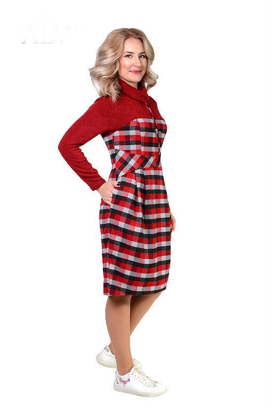 b5aa6265065 Купить Шерстяное платье в клетку 600045096 - Грация   Стиль