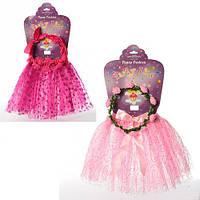 Набор аксессуаров карнавальный, юбка 31см, обруч-веночек, 2 вида, в пак.60*37*2см (50шт)(X11423)