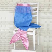 """Плед для девочки """"Русалочка"""" (голубой/розовый), ПВХ сумка 45*45см(А101)"""