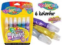 """Ручка """"JUMBO"""" с кисточкой наполненная краской, metallic, 6 цветов, ТМ Colorino(34173)"""