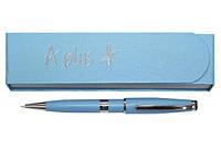 Ручка шариковая, голубая, логотип на широком кольце(A-139)