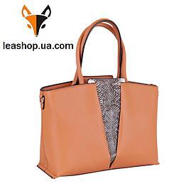 Руда жіноча сумка зі вставкою шкіри пітона