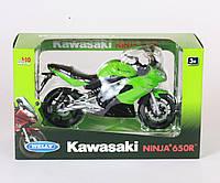 Мотоцикл Welly, KAWASAKI 2009 NINJA 650R, метал., масштаб 1:10, в кор. 27*16*11см (6шт)(62803W)
