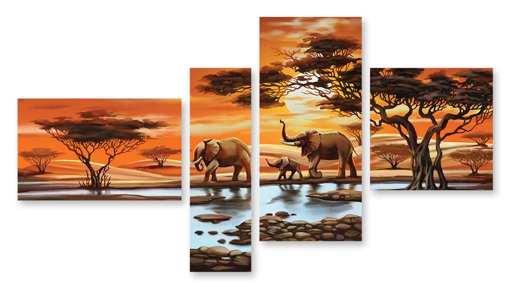 Модульная картина слоны и деревья