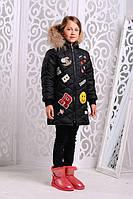 Теплая куртка «Маруся» для девочки 7-11 лет (зимняя коллекция 2017/18 размер 32-40 / 122-146 см) ТМ MANIFIK Черный