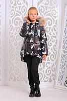 Теплая куртка «Мая» для девочки 7-10 лет (зимняя коллекция 2017/18 размер 32-38 / 122-140 см) ТМ MANIFIK Милитари