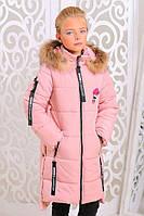 Теплая куртка «Ника» для девочки 8-12 лет (зимняя коллекция 2017/18 размер 34-42 / 128-152 см) ТМ MANIFIK Пудра