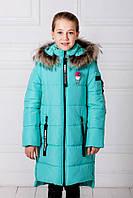 Длинная подростковая куртка «Ника» для девочки 8-14 лет (зима 2018, размер 34-42 / 128-152) ТМ MANIFIK Бирюза