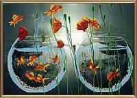 """Ткань с нанесенным рисунком-схемой (атлас) """"Мираж"""", для вышивания бисером, 58*41см(БИС0061)"""