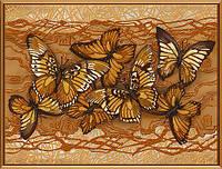"""Ткань с нанесенным рисунком-схемой (атлас) """"Полет бабочек"""", для вышивания бисером, 40*30см(БИС1272)"""