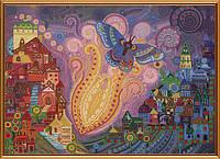 """Ткань с нанесенным рисунком-схемой (атлас) """"Пламенный цветок"""", для вышивания бисером, 42*30см(БИС1297)"""