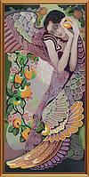 """Ткань с нанесенным рисунком-схемой (атлас) """"Яблоневый сад"""", для вышивания бисером, 25*52см(БИС1274)"""