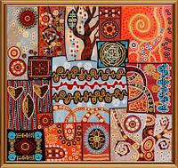 """Ткань с нанесенным рисунком-схемой (атлас) """"Магические узоры"""", для вышивания бисером, 35*33см(БИС1296)"""