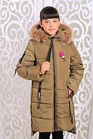 Зимнее пальто (куртка) «Ника» для девочки 8-14 лет (натуральный мех, р. 34-42 / 128-152) ТМ MANIFIK Хаки