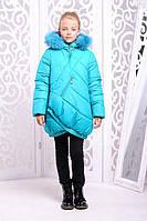 Оригинальная куртка «Элис» для девочки 8-14 лет (зимняя коллекция 2017/18 р. 34-42 / 128-152) ТМ MANIFIK Бирюзовый