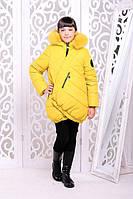 Детская куртка «Элис» для подростка 8-12 лет (зимняя коллекция 2017/18 р. 34-42 / 128-152) ТМ MANIFIK Желтый