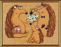 """Набор для вышивания нитками и бисером """"Семья ежей"""", 30*23см(ННД3026)"""