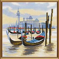 """Набор для вышивания нитками на канве с фоновым рисунком """"Пристань в венеции"""", 25*25см(СВ4069)"""