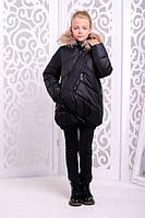 Теплая куртка «Элис» на девочку 9,13 лет (мех- енот, зимняя коллекция 2017/18, р. 36,40 / 134,146 см) ТМ MANIFIK Черный