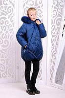 Теплая куртка «Элис» на девочку 8-14 лет (зимняя коллекция 2017/18, р. 34-42 / 128-152 см) ТМ MANIFIK Морская волна