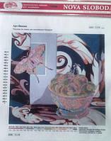"""Ткань с нанесенным рисунком-схемой (атлас) """"Арт-Вишня"""", 26*26см., для вышивания бисером,(БИС3119)"""
