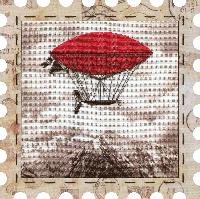 """Набор для вышивания нитками """"Дирижабль"""" на фоновой канве, с рамочкой в компл., р 24*24см(КО4014-У)"""