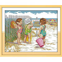 """Набор для вышивания крестиком """"Пляжницы"""",в пак. 46*38см,(R469)"""